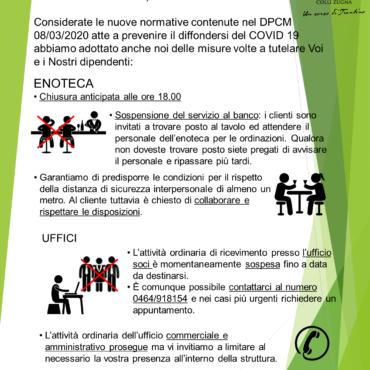 ADEGUAMENTO ATTIVITA' – DPCM 08.03.2020 COVID-19
