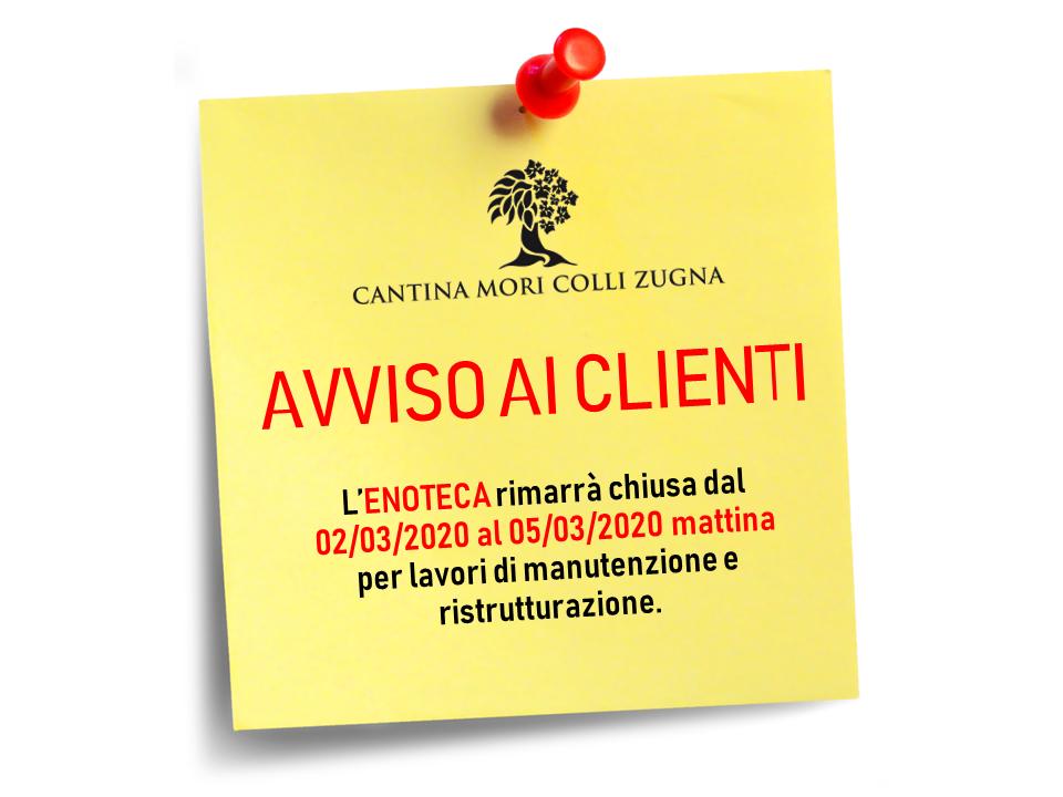 AVVISO ENOTECA – CHIUSURA PER MANUTENZIONE